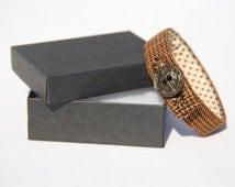 Anchor Bracelet Nautical Material Jewelry - Salmon Orange & Wooden Brown Plaid Wool Fabric - Men Women Unisex Gift Him Her