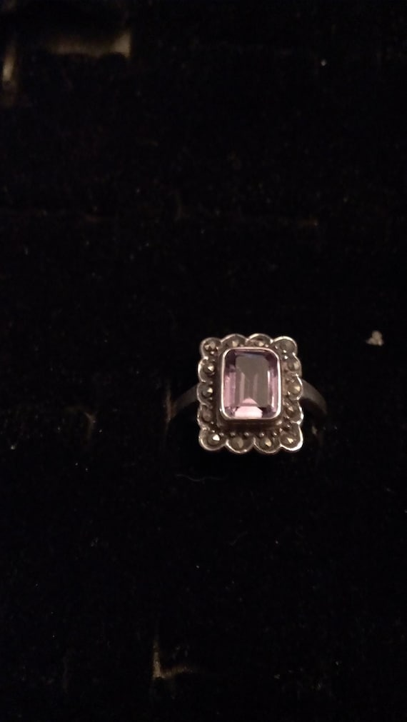 Vintage Sterling Silver Ring Amethyst & Marcasite SS44 Sz 7.5