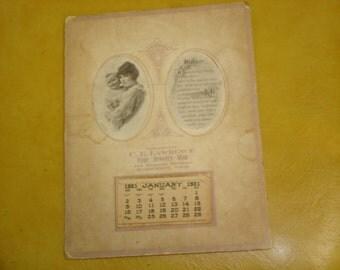 8 x 5 1921 Advertising Calendar,  2 inch ovals on face of calendar. Few spots