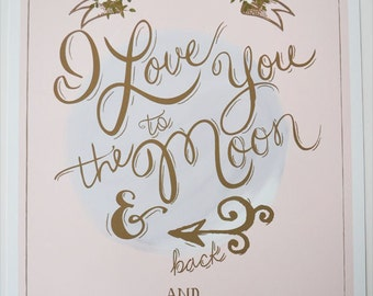 "Romantic Art Print ""I Love You To The Moon & Back"" {Wedding Print 8.5 x 11}"