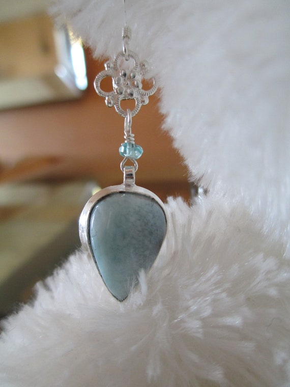 Holiday Sale - Larimar Earrings Bezeled in Sterling Silver