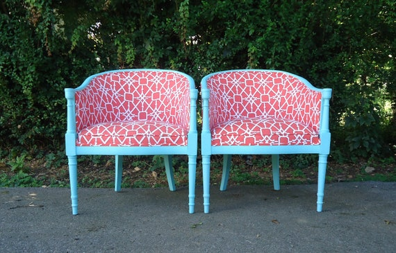 Pair of Antique Barrel Back Chairs - Upcycled - Patina Green & Coral Geometric
