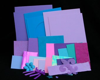 Funky Festival -3 blank cards kit in teal turquoise purple and lilac- OOAK ready to ship