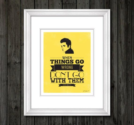 Yellow Elvis Presley Quote Typography Print