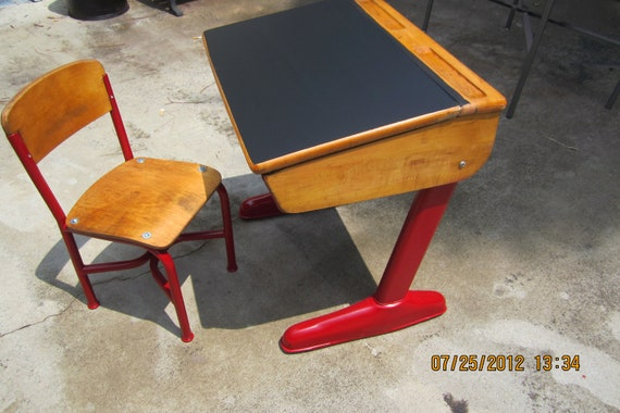 School desk with chalkboard top from late 50's early 60's re-done ready to use PRICE REDUCED