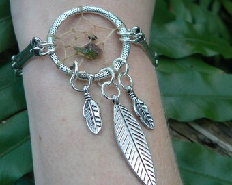 metal dreamcatcher bracelet tourmaline  in tribal gypsy boho hippie and native american inspired style