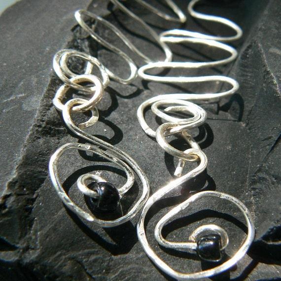 SALE dangle coil Earrings in silver wire gypsy boho hippie  now 14.00