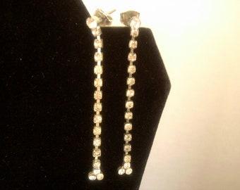 Rhinestone Earrings Long Dangle Earrings 3 inch drop High fashion earrings for parties or events
