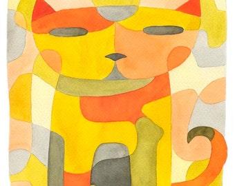 Nursery Art Print Kids Art Prints 'Cat 1' Mid Century Modern Art Print pink yellow mustard orange pink grey 8 x 10