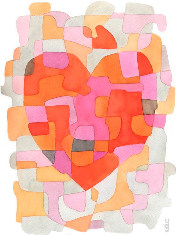"Heart - Abstract Art Print Poster Valentines day Wedding Gift Anniversary Gift pink orange, 8"" x 10"""