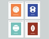 Set of 4 sports prints - 11x14 posters - Nursery art print - baseball, basketball, football, soccer art - sports decor