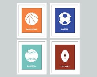Set of 4 sports prints - 8x10 posters - Nursery art print - baseball, basketball, football, soccer art - sports decor