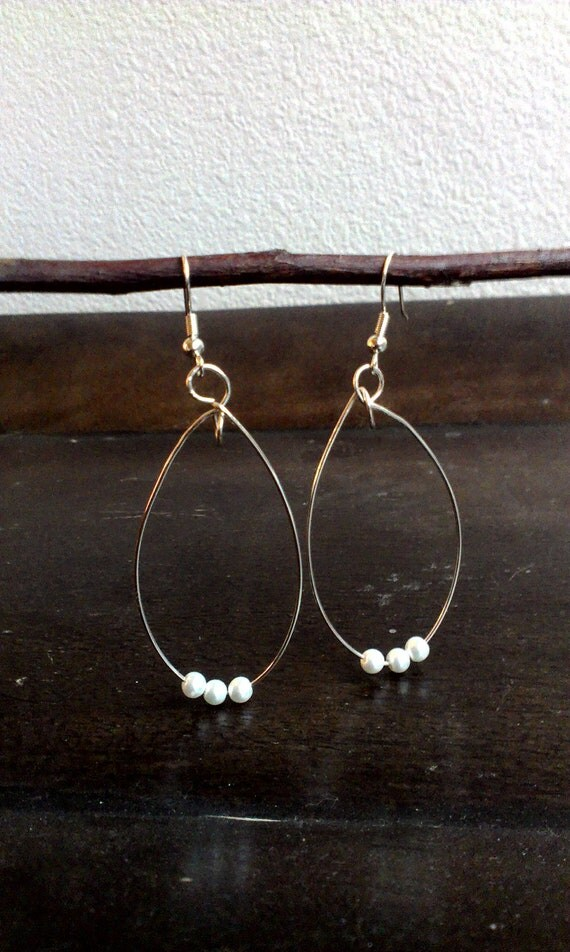 White pearl silver wire wrapped Teardrop Earrings