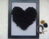 Handmade Black Chiffon Heart on Black Striped Print