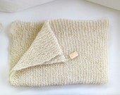 Wool knitted throw