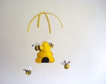 felted mobile bumble bee and wooden beehive yellow white. Black Bedroom Furniture Sets. Home Design Ideas