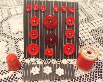 Button Set, Red Black and White