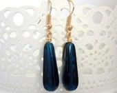 Navy Blue Czech Bead Dangle Earrings (something blue)