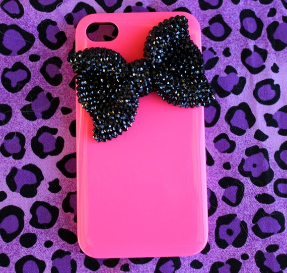 Hot Pink and Bling Bow iPhone 4 & 4s Case