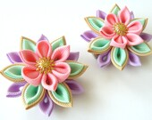 Kanzashi  Fabric Flowers. Set of 2 hair clips. Pink, mint, orchid and toffee.