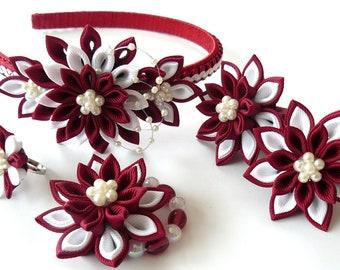Kanzashi fabric  flowers. Set of 5 pieces. Bordo and white.