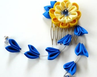 Kanzashi Fabric Flower hair comb with falls.  Blue and yellow.