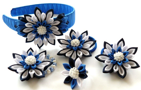 Kanzashi fabric  flowers. Set of 5 pieces. Navy blue, royal blue and white.