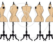 Set of old vintage mannequin silhouettes, dress form, tailor's dummy, fashion illustration, digital clipart for shops or home decor, vector