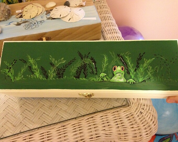 """Frog Box - """"Frog in the weeds"""" painted in acrylic on a 4 x 13 1/2 x 3 1/2 box"""