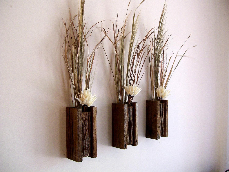 Set Of 3 Rustic / Reclaimed / Barn Wood Wall Vase / Flower