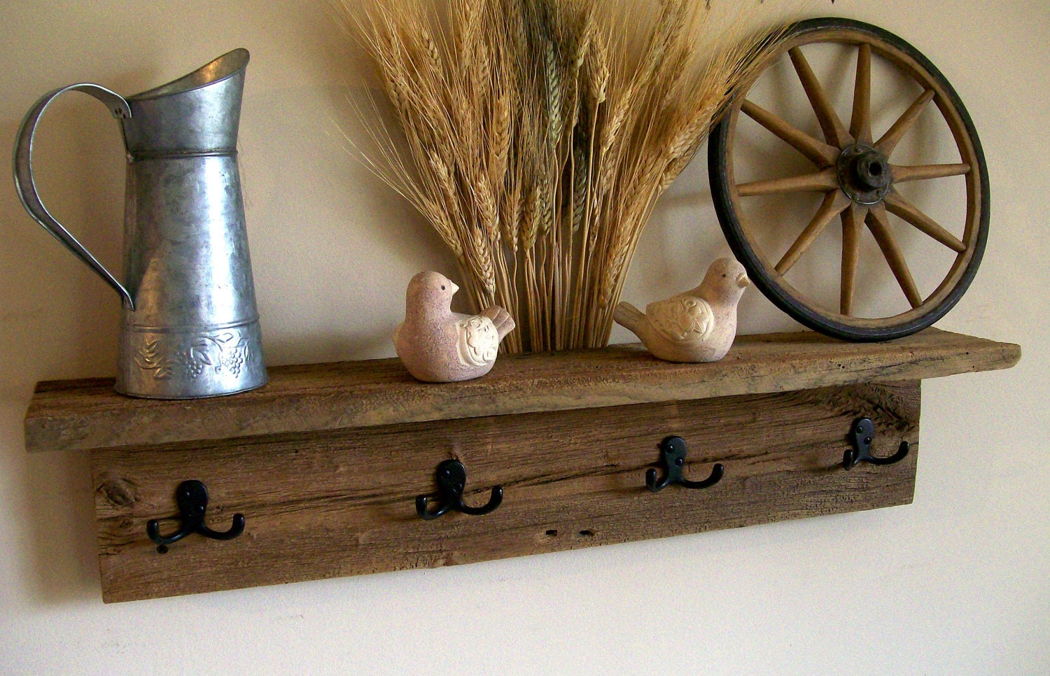 Wall Hung Coat Rack Shelf / Hat Rack / Key Rack By TheBarnYardShop. Full resolution‎  snapshot, nominally Width 1500 Height 966 pixels, snapshot with #3B2B17.