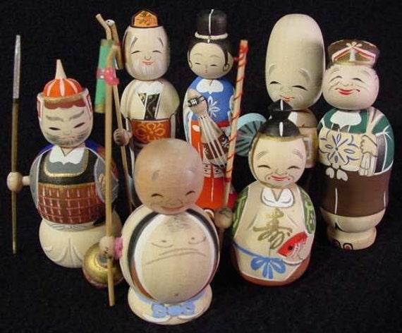 RARE Japanese 7 Lucky Gods Nodder Kokeshi Doll Set Fine Detail