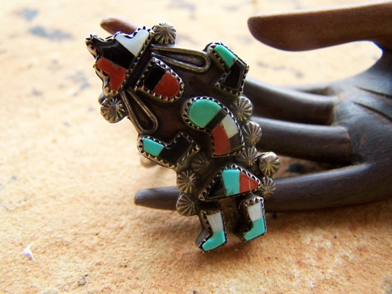 Native American Zuni Sterling Silver Turquoise Coral Onyx Rainbow Dancing Man Rainmaker Size 6 1/2