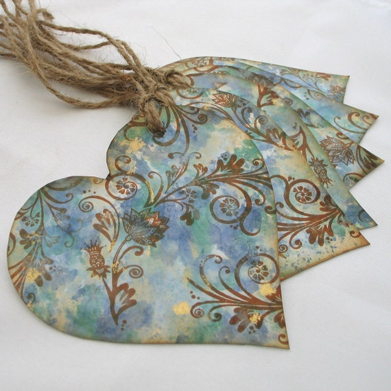 Blue Gift Tags Vintage Style Hand Painted Heart Gift labels  x 6