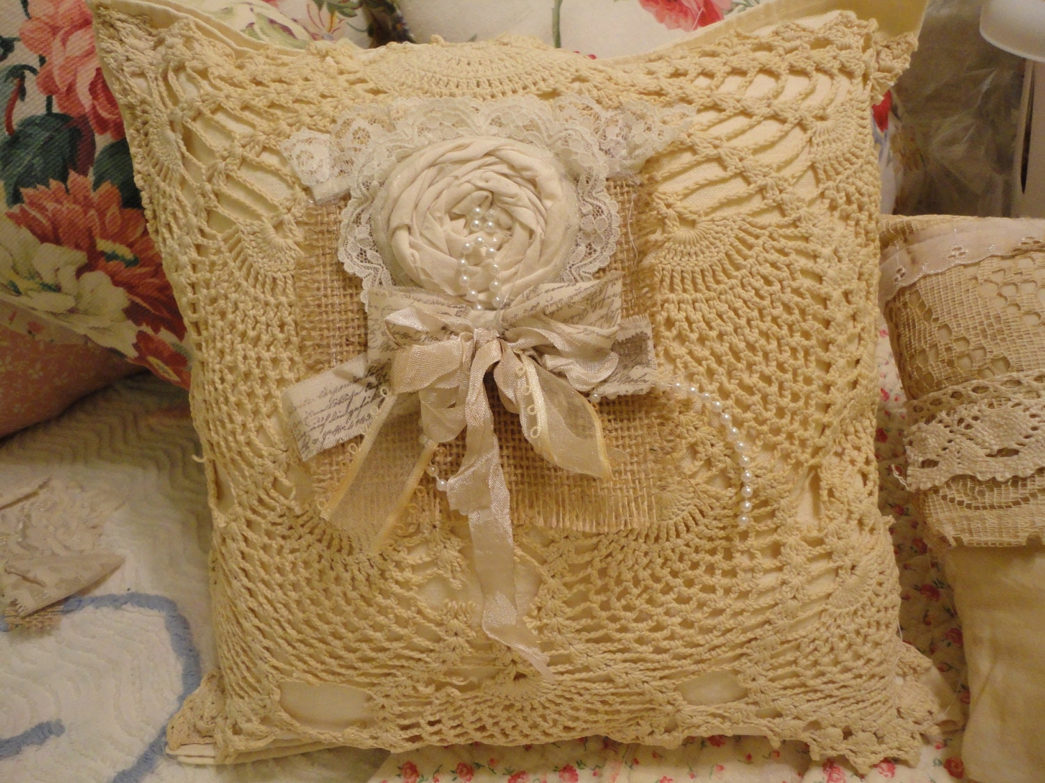 Vintage Crochet Overlay Shabby Chic Pillow Ribbons by TwoScoops4U