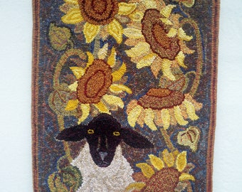 """Pattern - Sheep in Sunflowers - 22"""" x 40"""""""