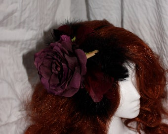Maroon & Black Feathered Rose Fascinator