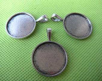 Antique Silver Circle Pendant Trays, 25mm Pendant Trays, 1 inch Round Pendant Trays - Photo Jewelry Supply Wholesale - 40pcs