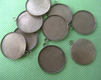 Brass Pendant Tray 25mm Bezel Blanks,Bottle Cap Jewelry Supply, Cabochon Setting 25mm Pendant Tray blanks - 20 pcs