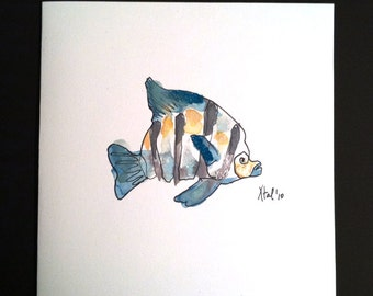 Teal Fish Art Card - Aquatic Collection