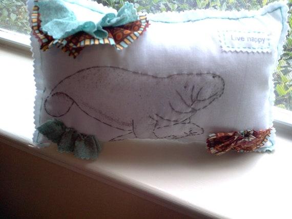 Manatee pillow, Appliqued animal pillow, Fabric scrap pillow, Printed pillow, Home Decor Pillow, ruffle pillow