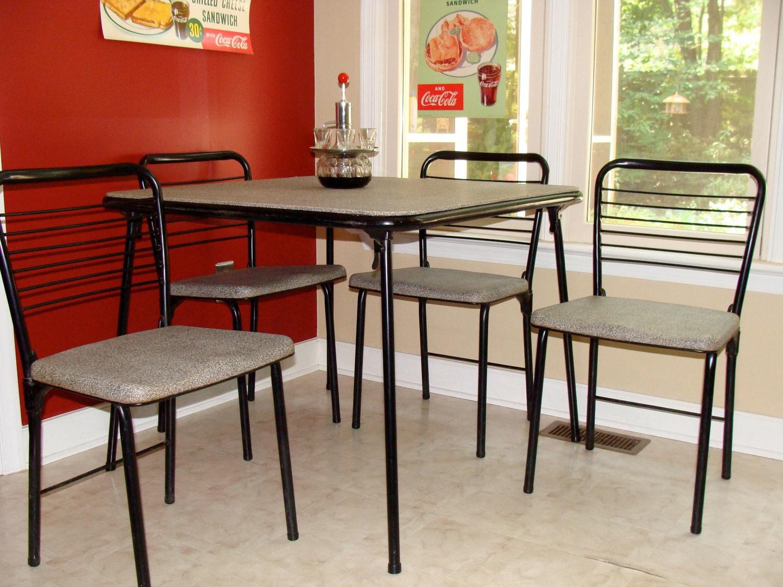 1950 39 s retro dinette set vintage metal folding table. Black Bedroom Furniture Sets. Home Design Ideas