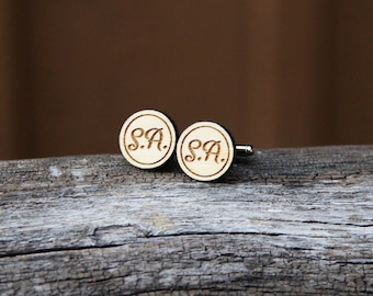 Personalized Wood Cufflinks - Bamboo