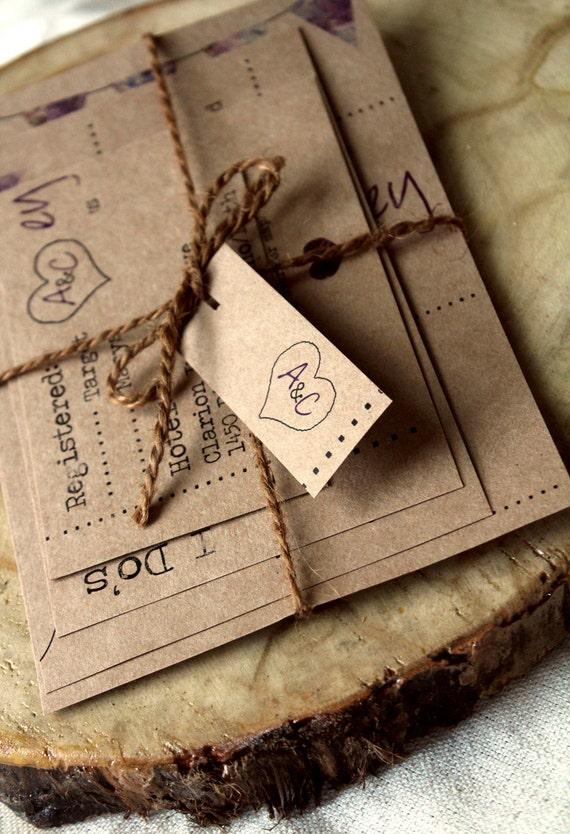 Rustic Brown Paper-Bag Wedding Invite Set - Customizable