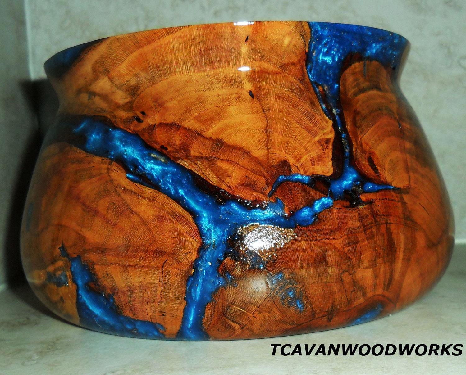 Wood Bowl Hand Turned Plum Wood Inlaid With Blue And Pink