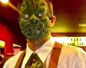 masquerade green man Latex Face Mask