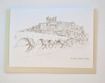 Beziers - Card french greeting, birthday original art print Bastille Day