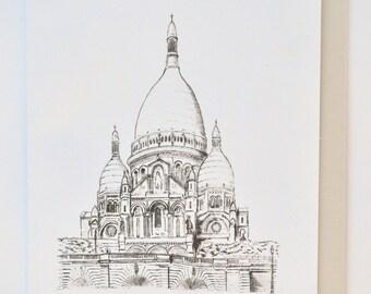 Sacre Coeur - Card greeting, birthday Paris France original art work Bastille Day