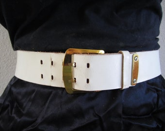 Creamy white double prong gold buckle 1960s by Paris Fashion size 28