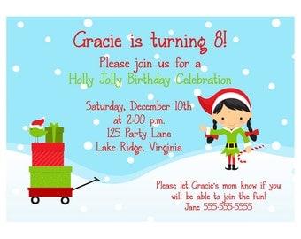 Printable Christmas Elf Birthday Invitation - Boy or Girl